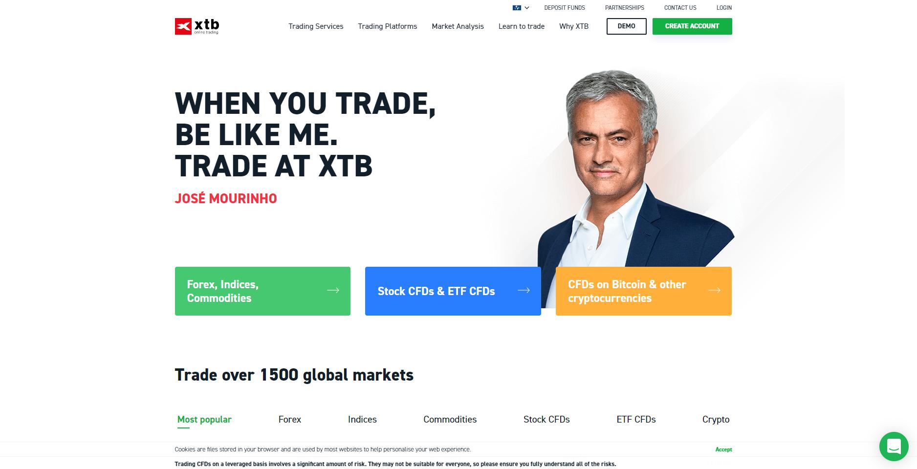 Il sito ufficiale di XTB