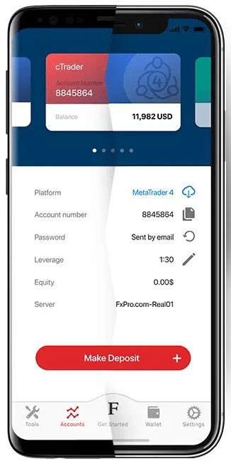 Az FxPro cTrader mobilkészüléken keresztül