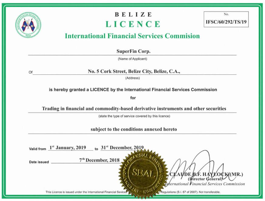 SuperForex License Certificate - foto genomen van officiële website