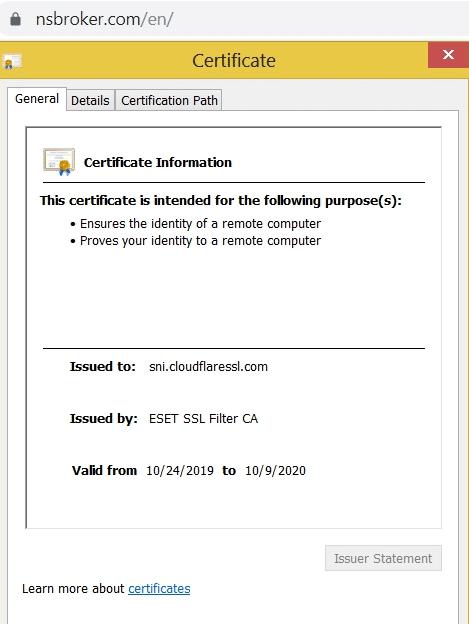 NSBroker SSL Certificate