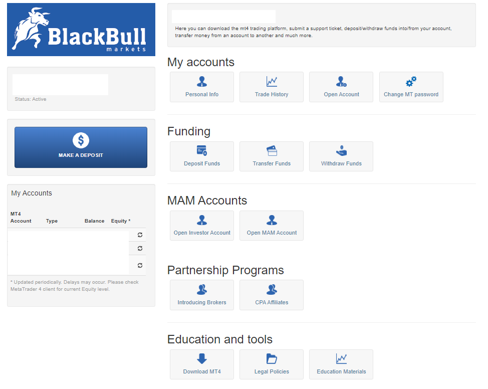 Панель мониторинга blackBull Markets
