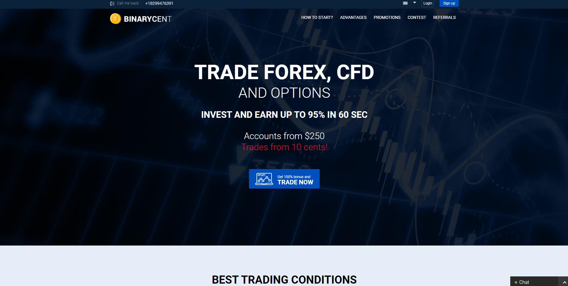 Official website of the Binary Options Broker BinaryCernt