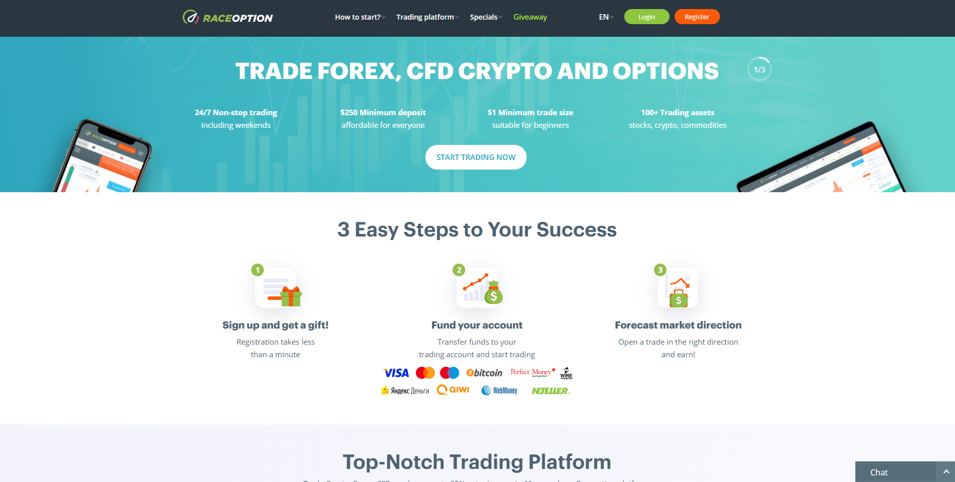 Official website of the Binary Options Broker RaceOption