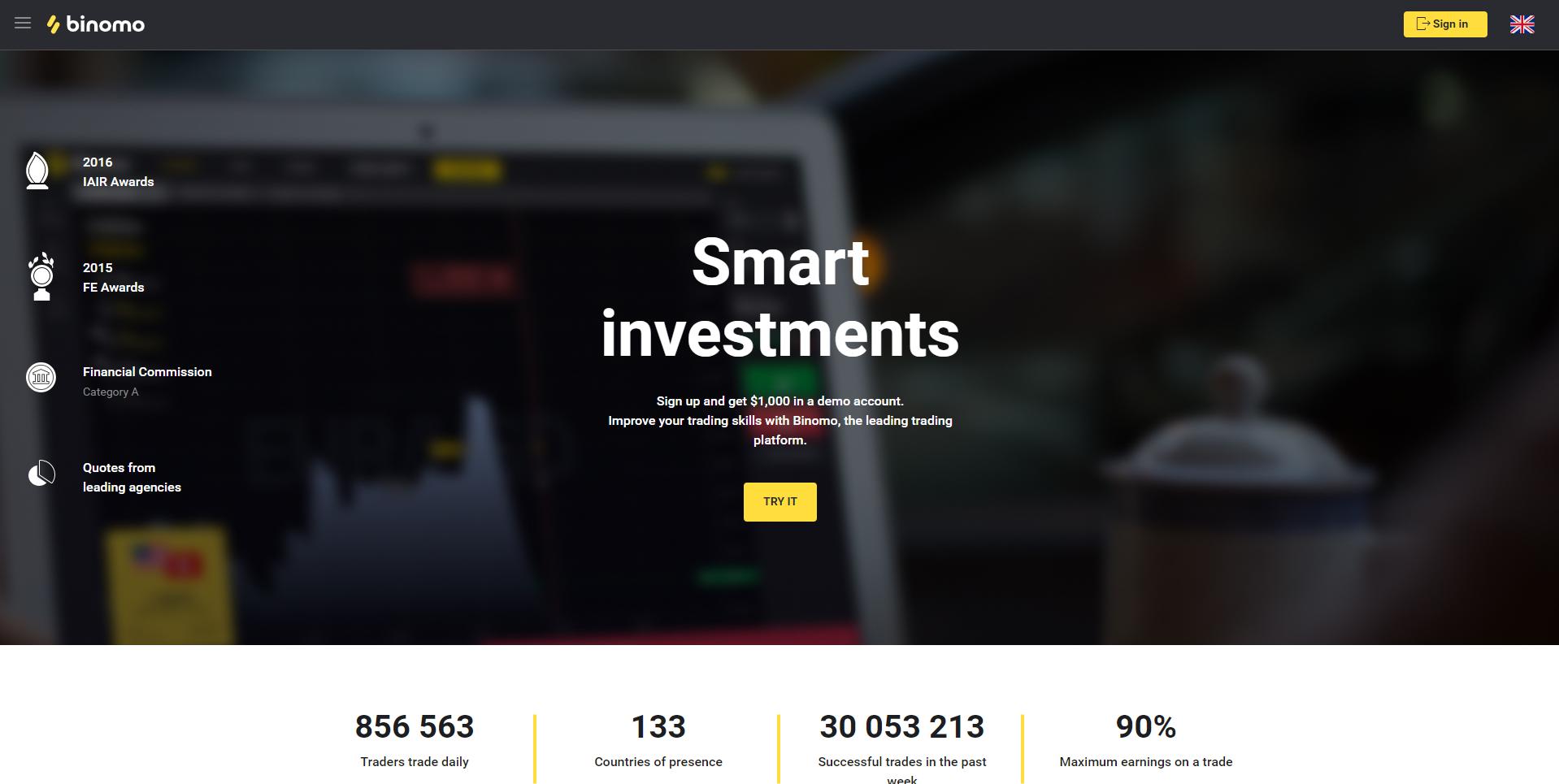 Официален сайт на Binomo