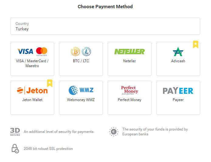Начини на плащане binomo за депозити и тегления