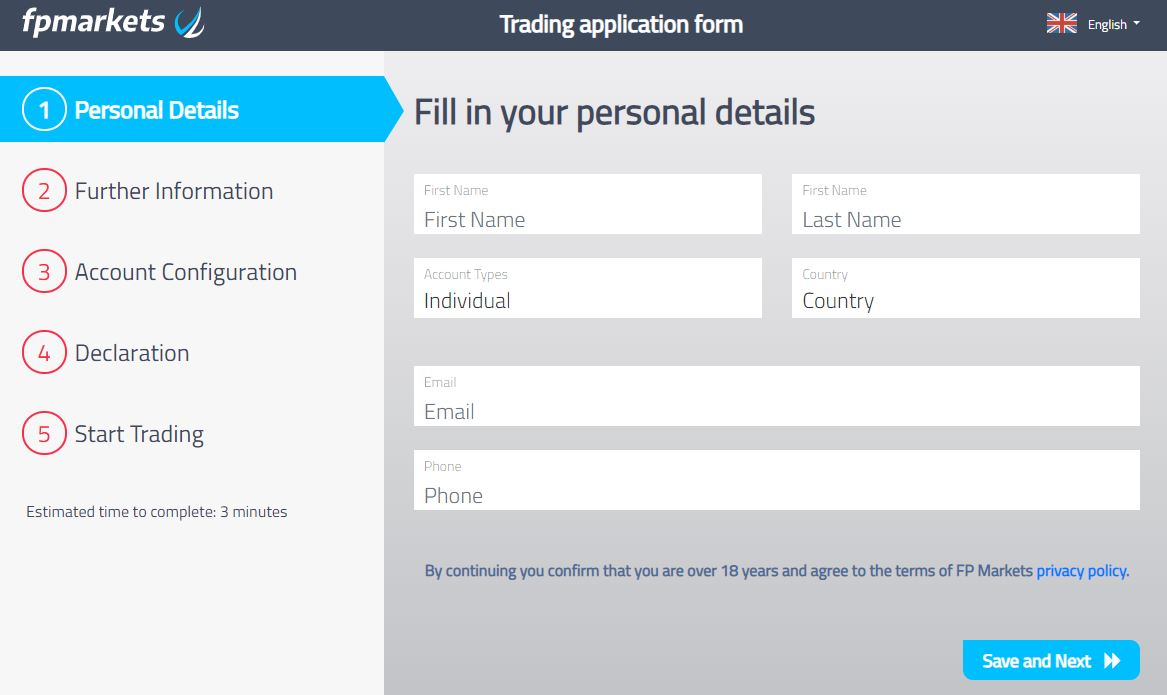 Register an account with FP Markets