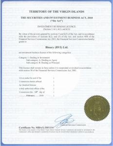 Deriv's British Virgin Islands Financial Services Commission license