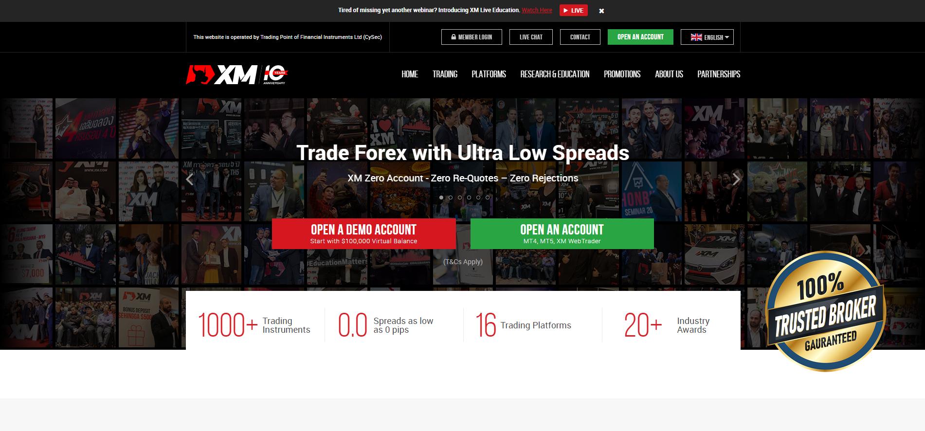 Il sito ufficiale del Forex Broker XM