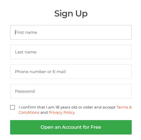 Formularz rejestracji konta