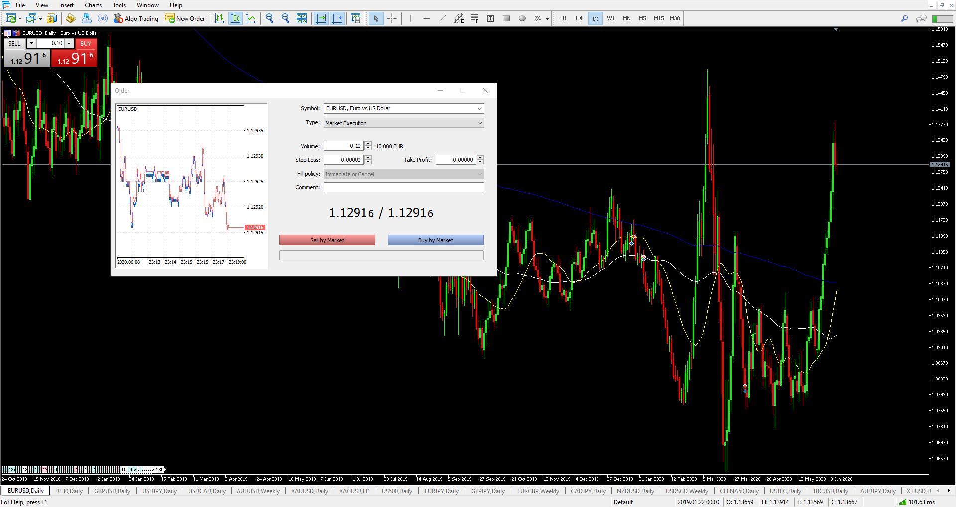 Forex Trading plattform MetaTrader 5 skjermbilde