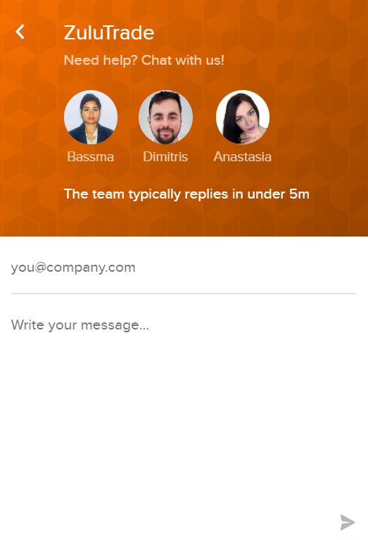 Live chat ondersteuning van ZuluTrade