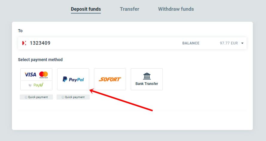 Vklad u PayPal