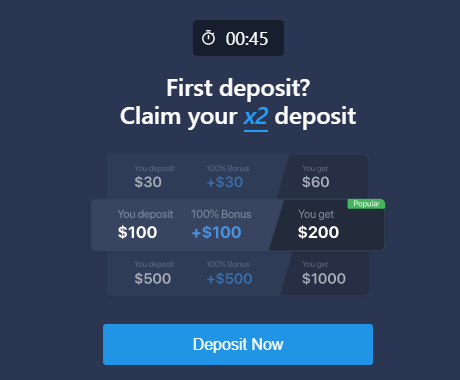 Expert Option bonus on the first deposit for Indian traders