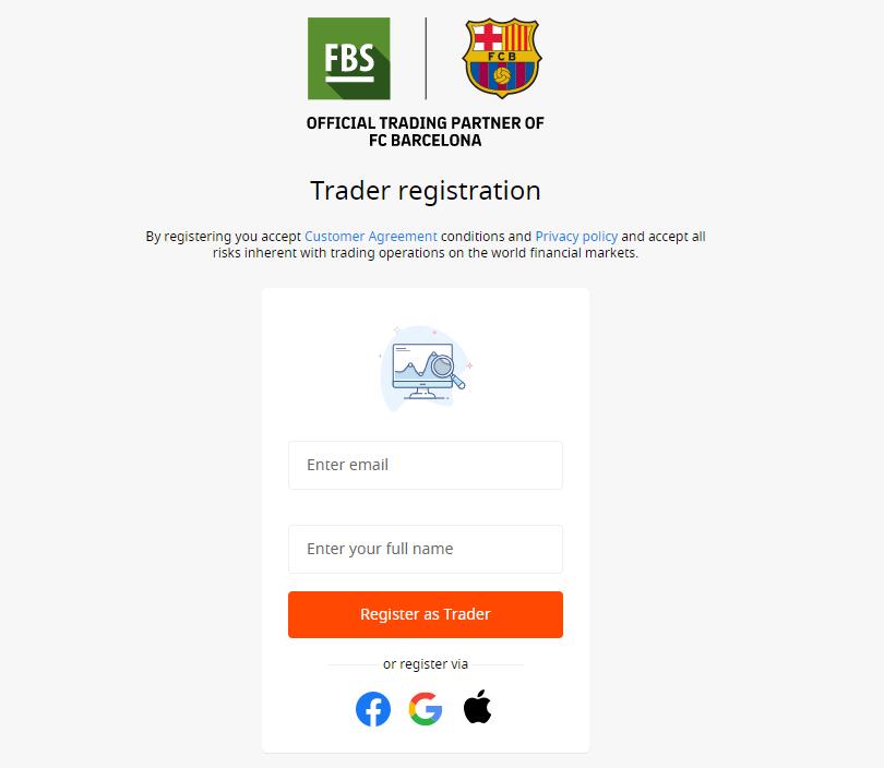 Registrazione del conto di trading FBS
