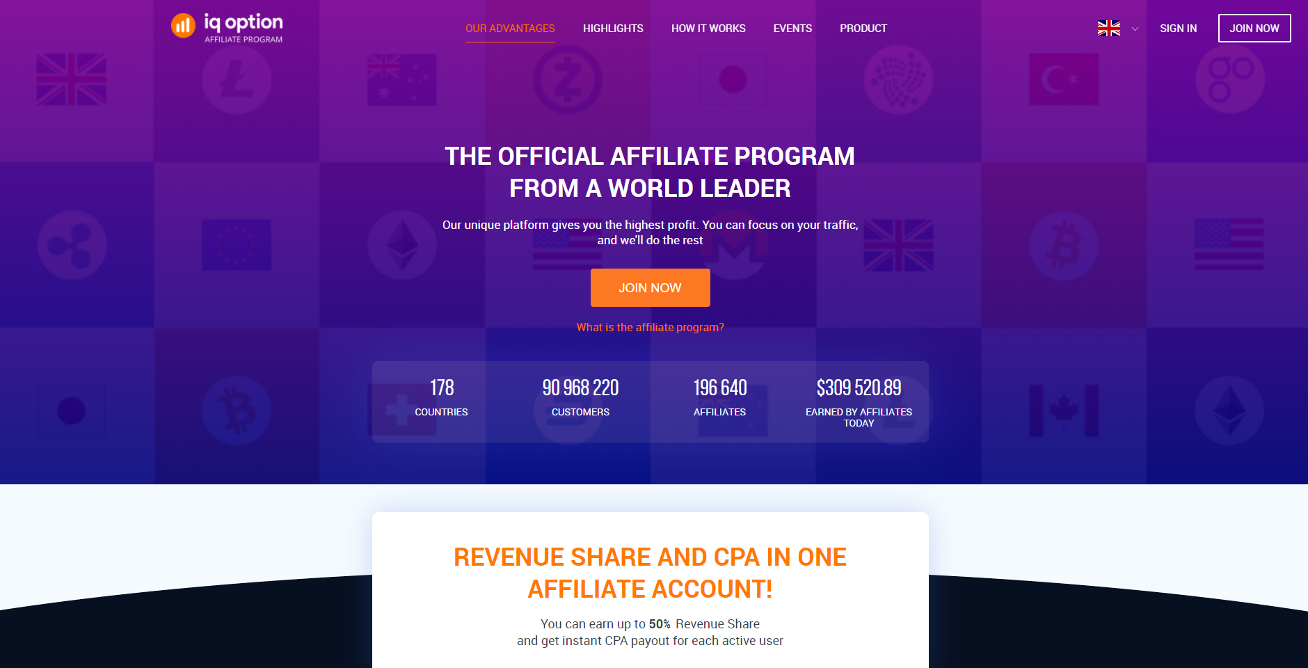 Website of the IQ Option affiliate program