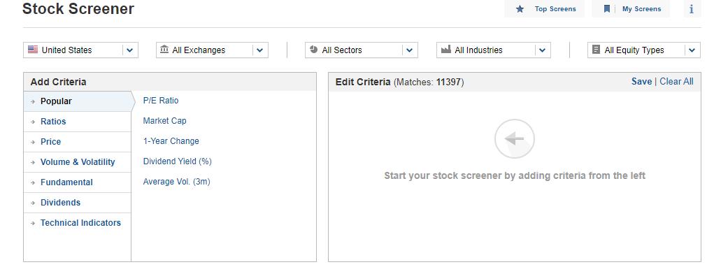 Investing.com stock screener