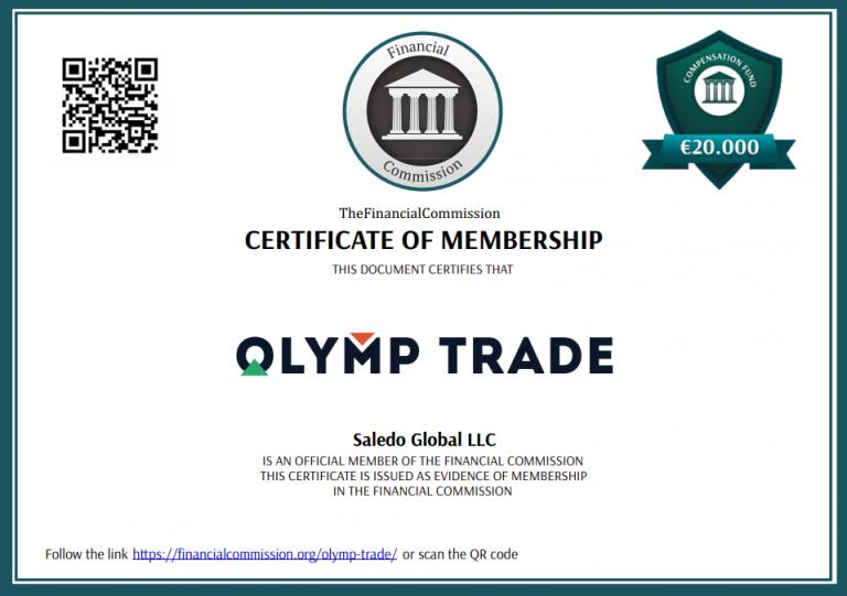 Olymp Trade Regulation Certicificate