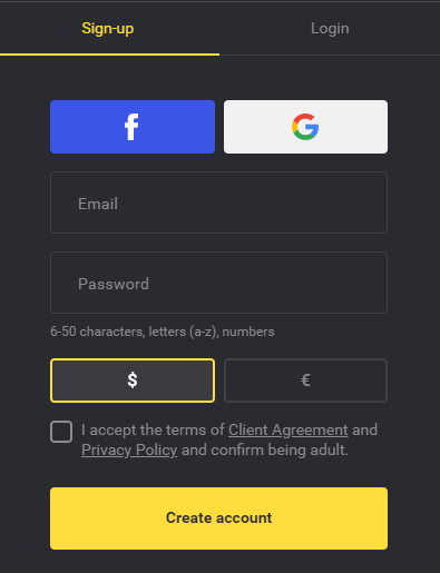 Sign up with Binomo first