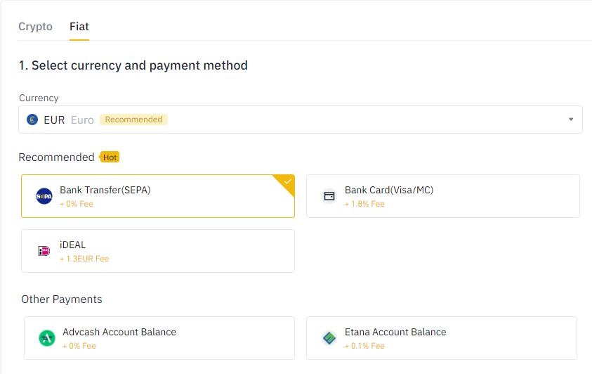 Binance deposit methods