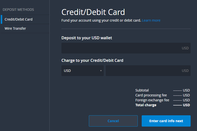 Bittrex depositing money