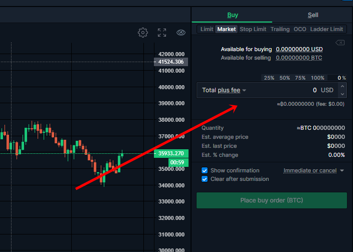 Buy and sell on Bittrex