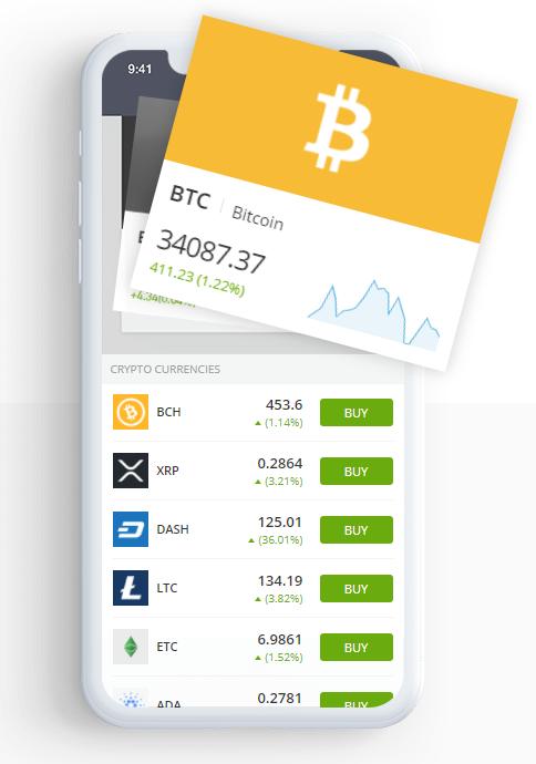 تطبيق العملات الرقمية عبر الهاتف المحمول Etoro