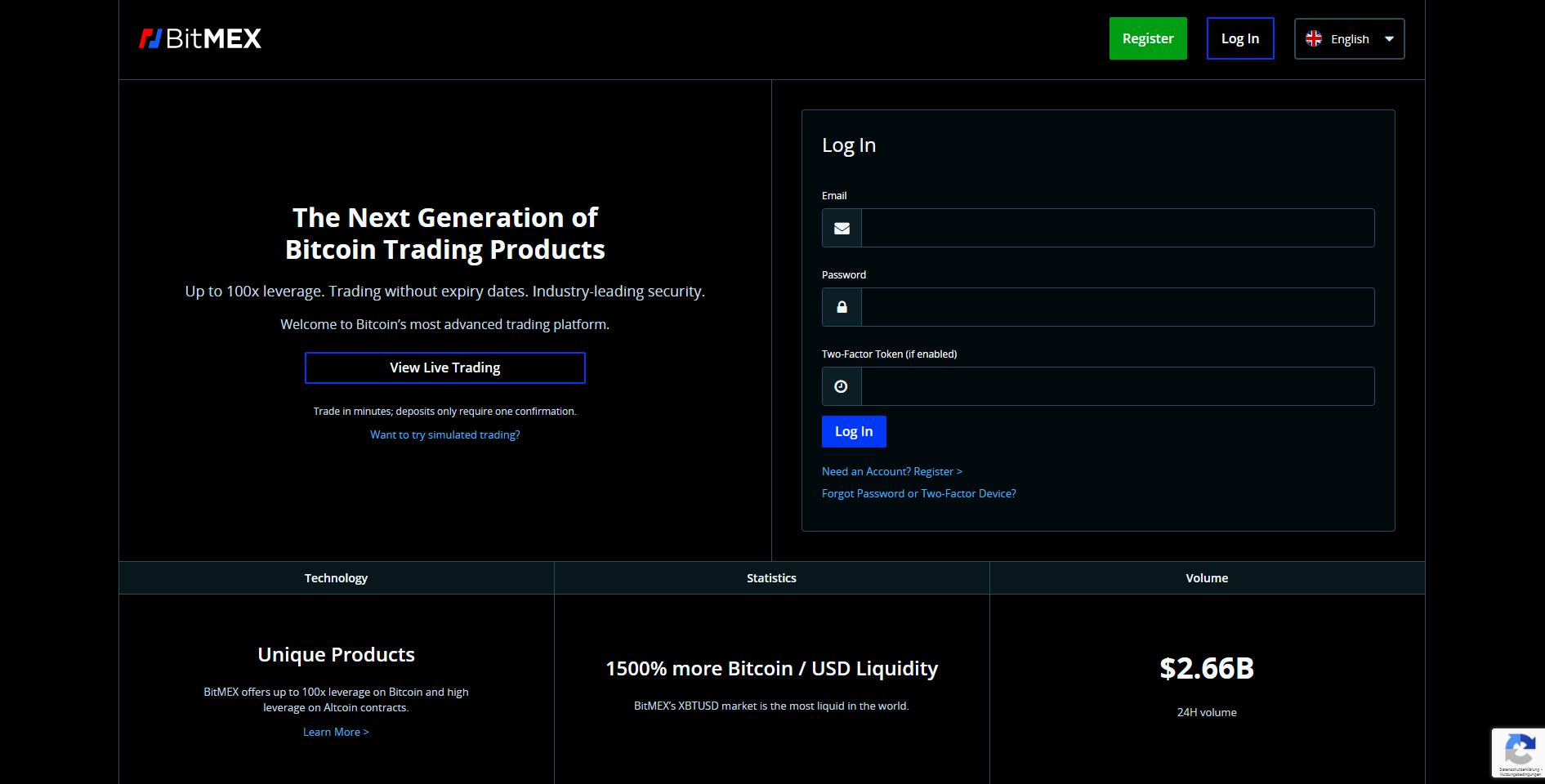 Officiële website van BitMEX