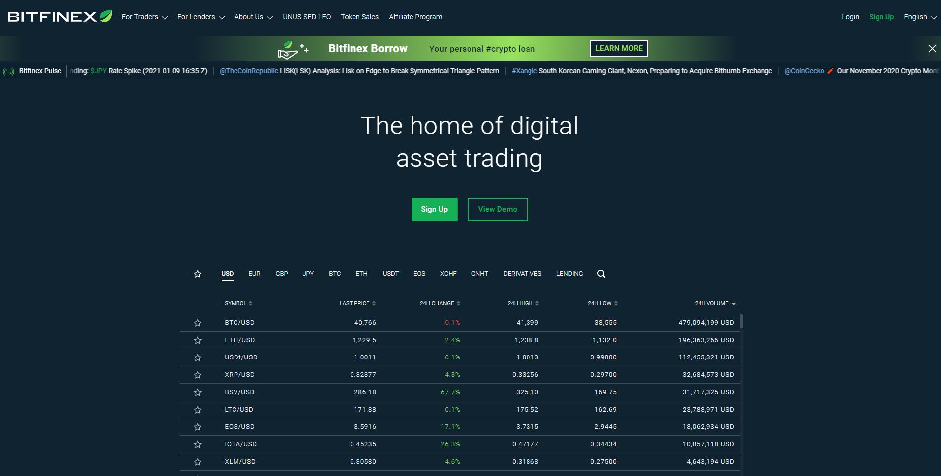 Official website of Bitfinex