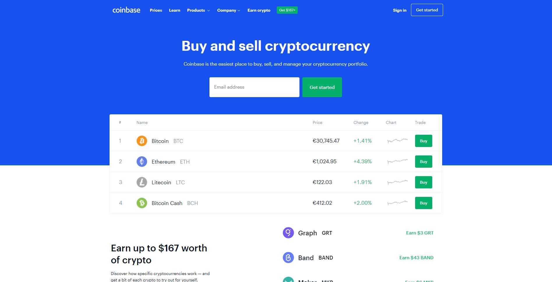 Officiële website van Coinbase