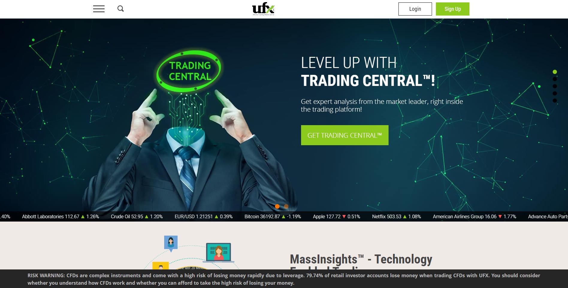 Official website of the broker UFX