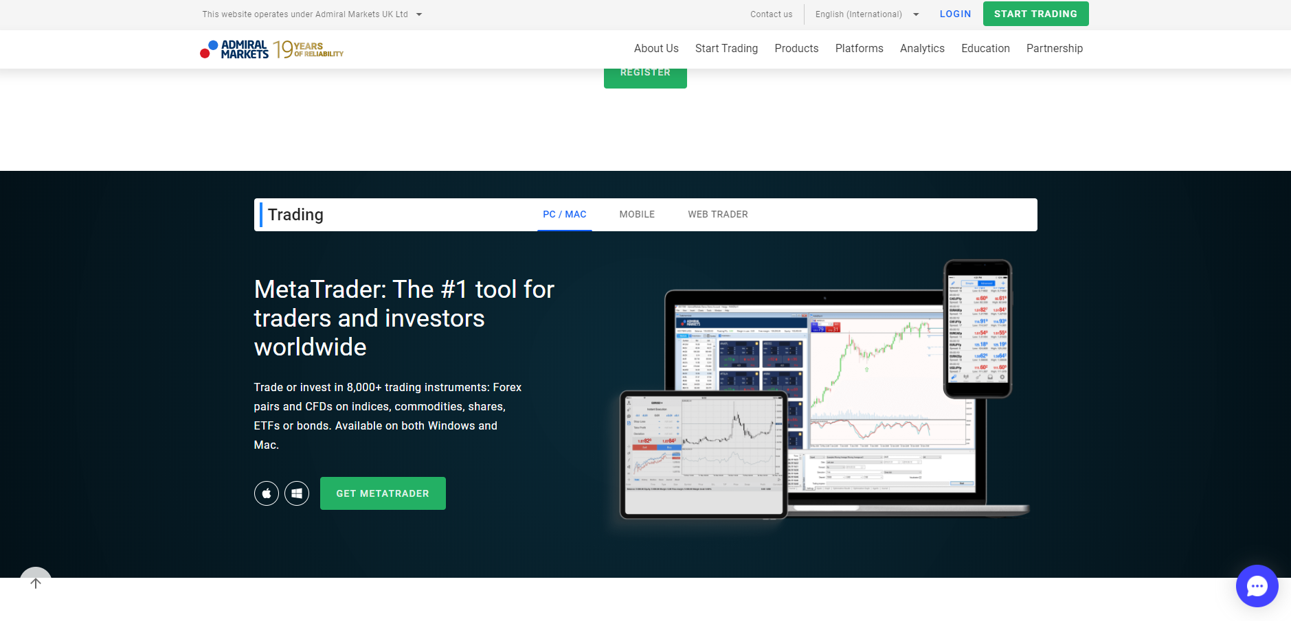Official website of the forex broker Admiral Markets in the UK