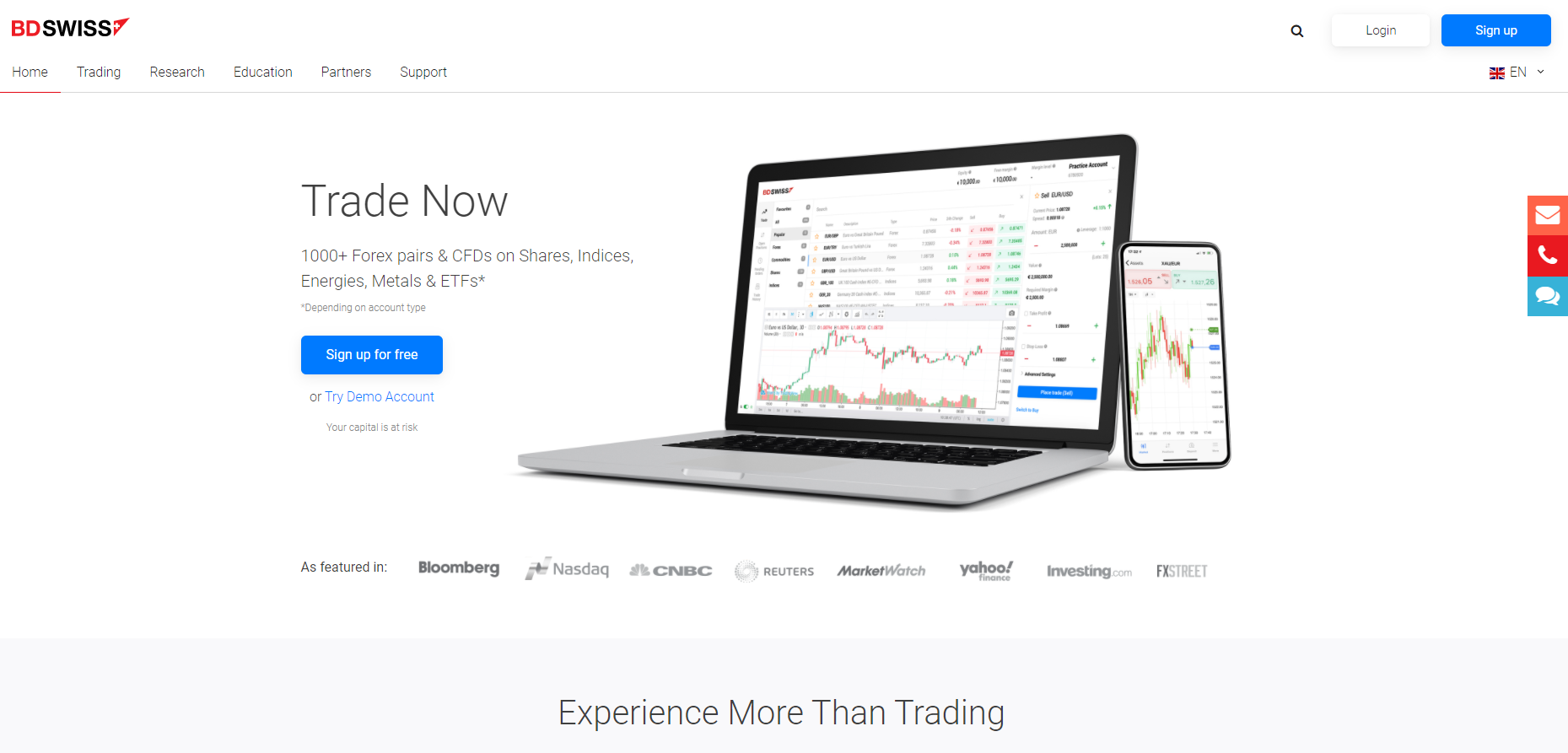 Official website of the forex broker BDSwiss in Europe