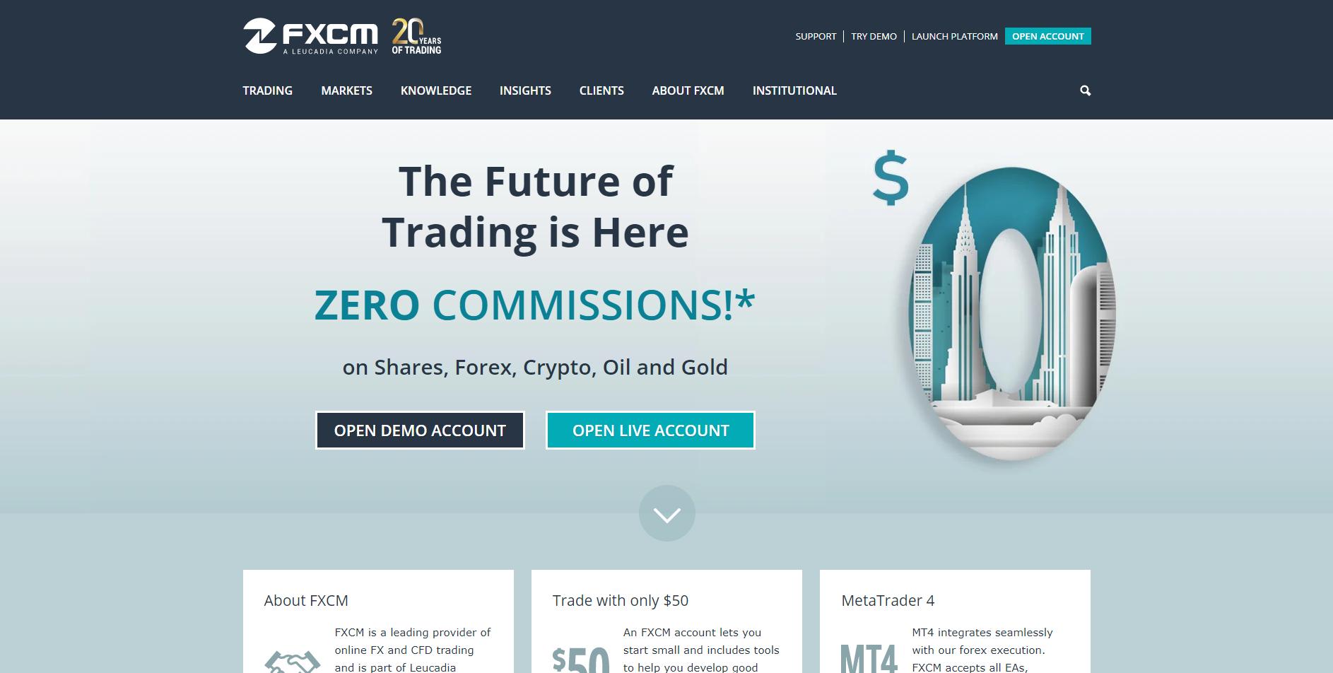 Official website of the forex broker FXCM in UK