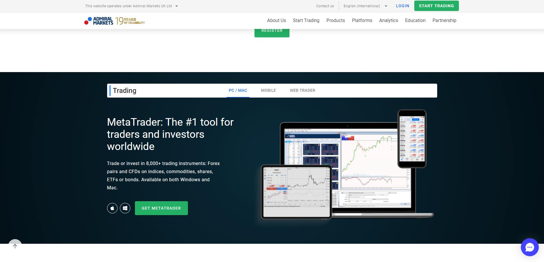 Oficjalna strona platformy forex Admiral Markets