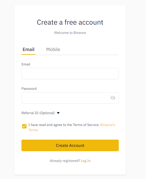 Open your account with Binance