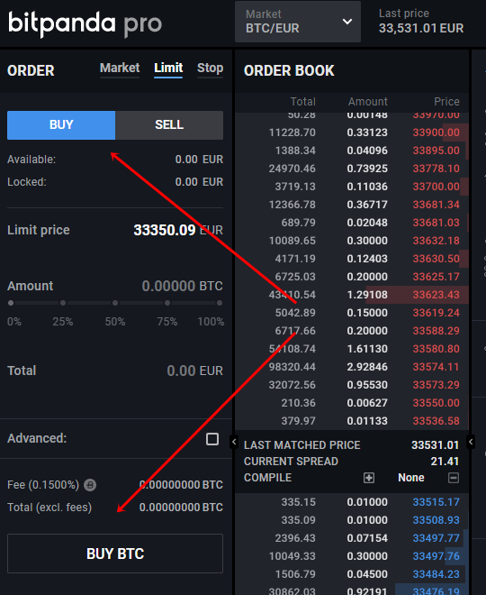 Buying crypto on Bitpanda Pro