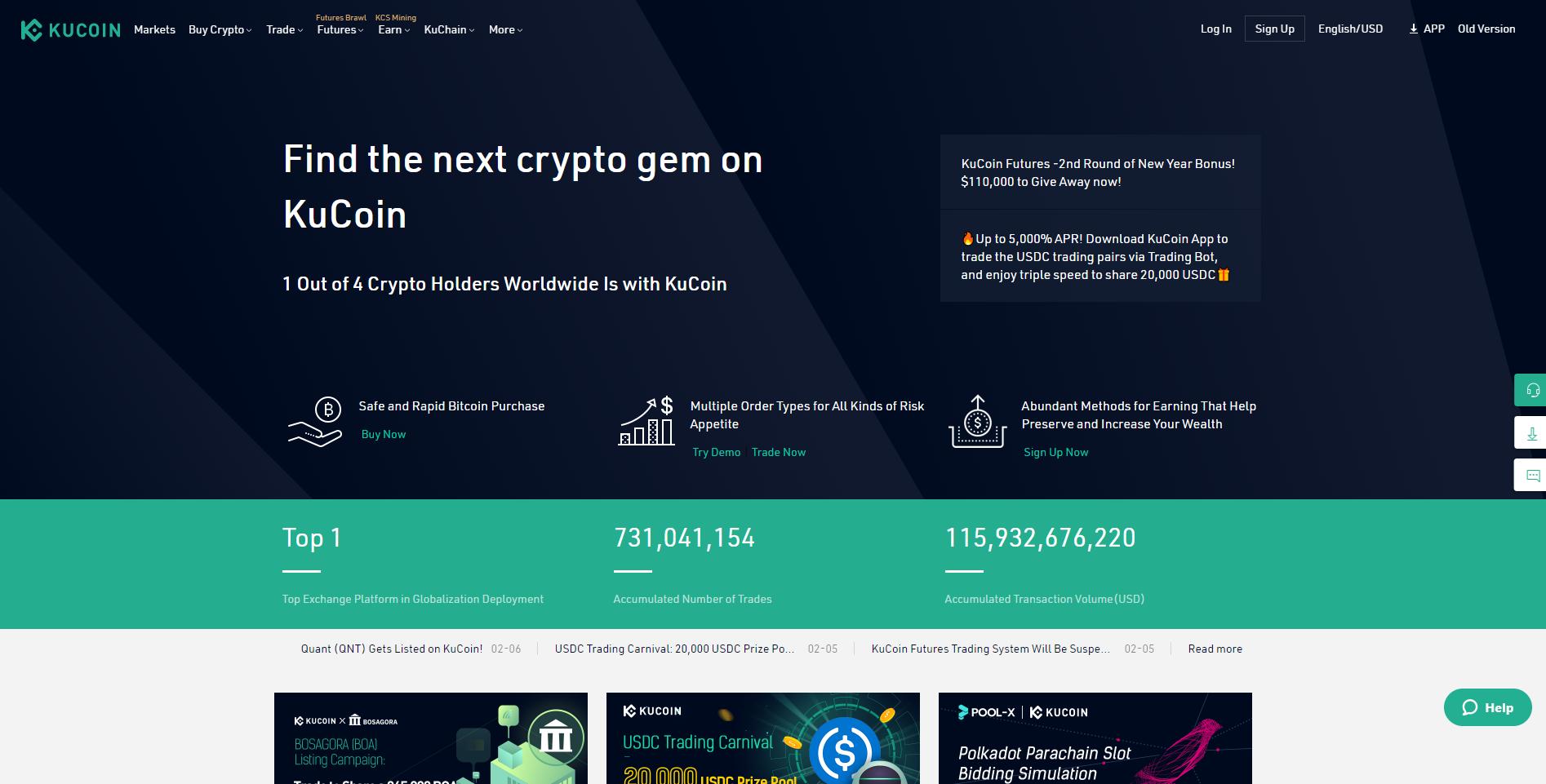 Официален сайт на KuCoin