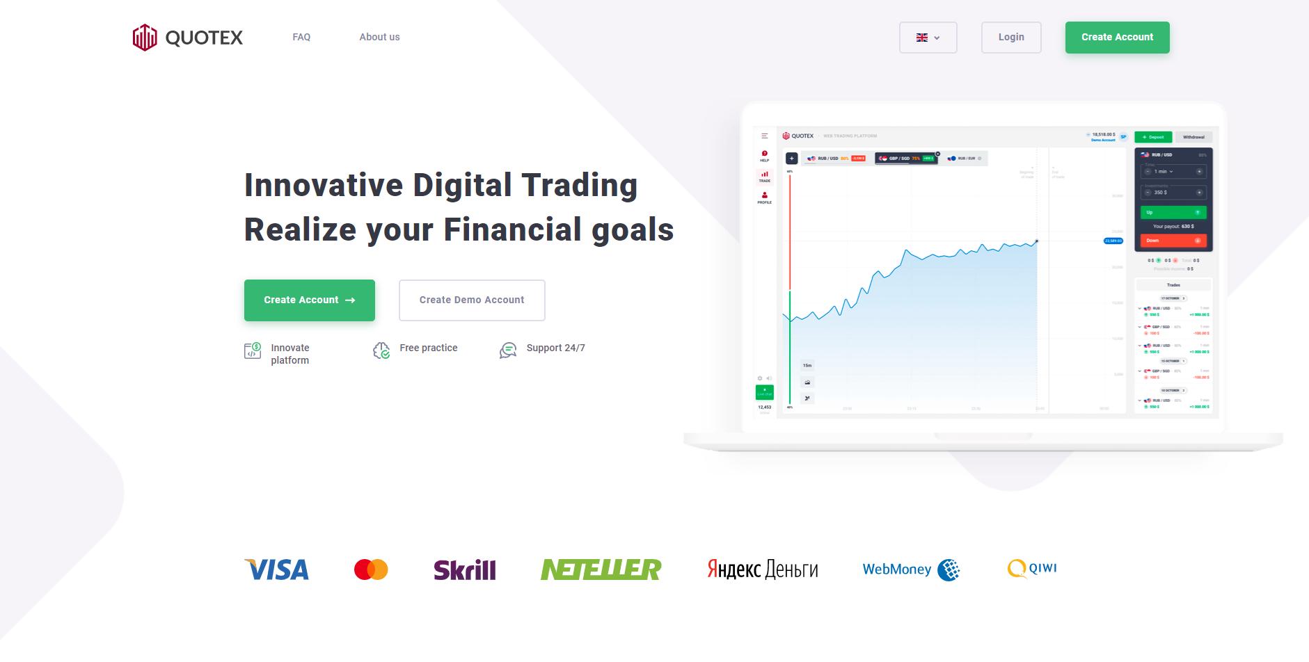 Quotex.io officiële website