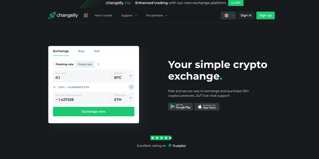 Changelly-Landing-page