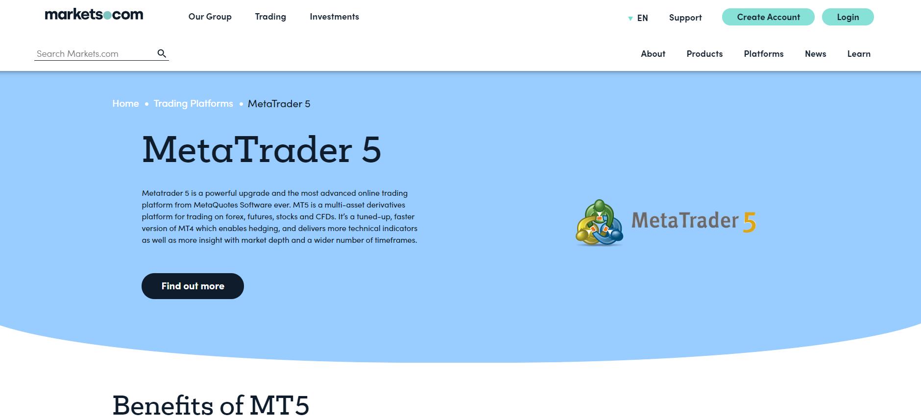 Markets.com official website